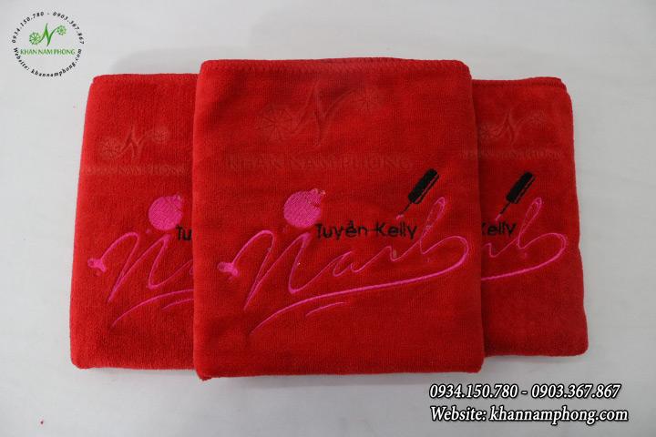 Mẫu khăn trải giường Tuyền Kelly Spa (Đỏ - Microfiber)