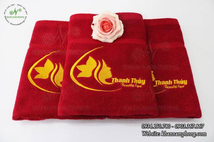 Mẫu khăn body Thanh Thủy Spa - Màu Đỏ (Cotton)