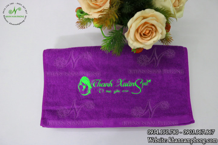 Mẫu khăn lau tay Thanh Xuân Spa (Tím - Cotton)
