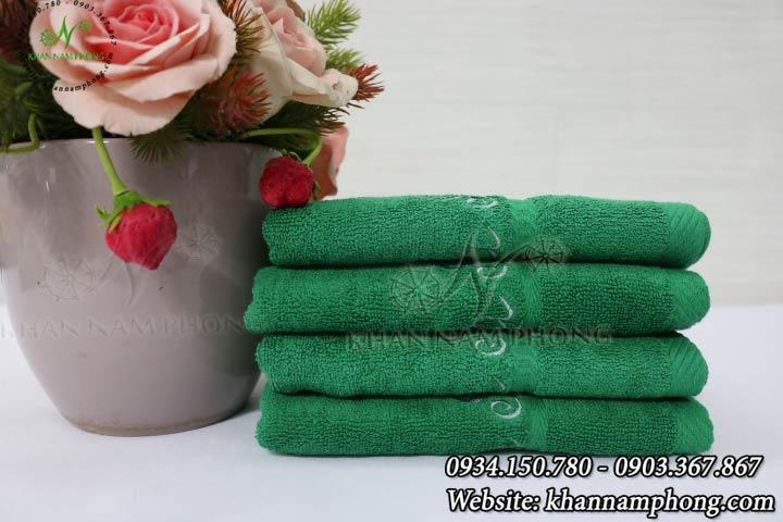 Mẫu khăn lau tay Saha Salon (Xanh Lá - Cotton)