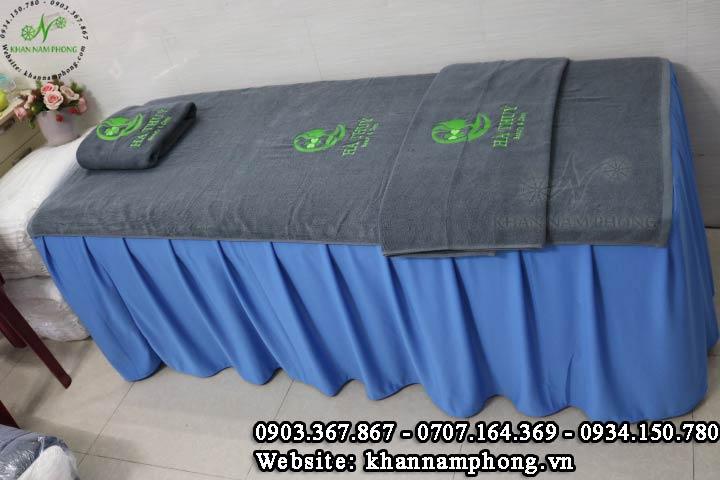 Mẫu khăn trải giường Hà Thúy Spa - Xám (Cotton)