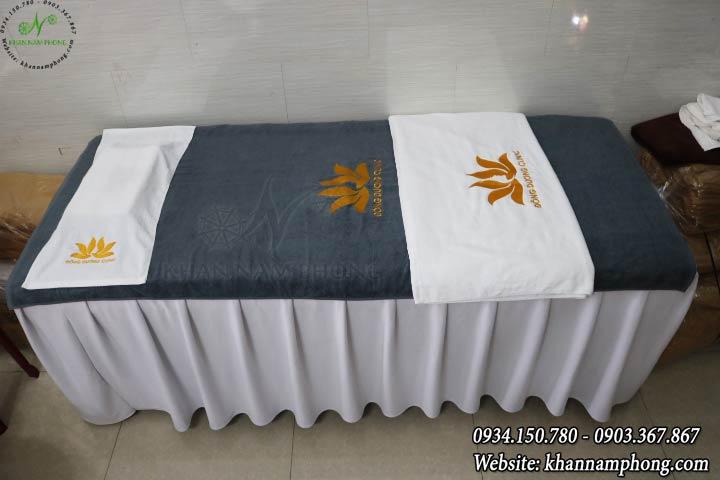 Mẫu khăn trải giường Đông Dương Clinic - Xám (Cotton)