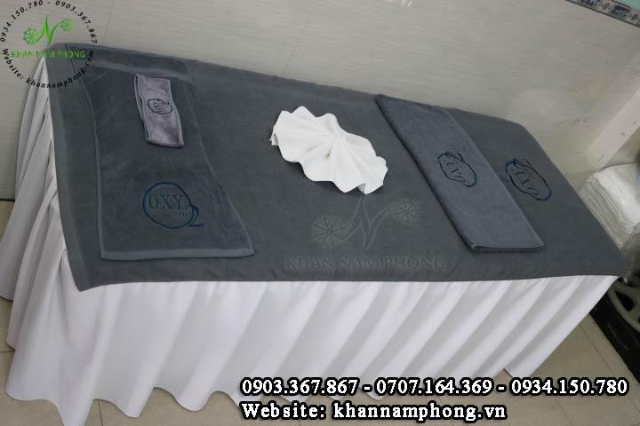 Mẫu khăn trải giường Oxy Spa - Xám (Cotton)