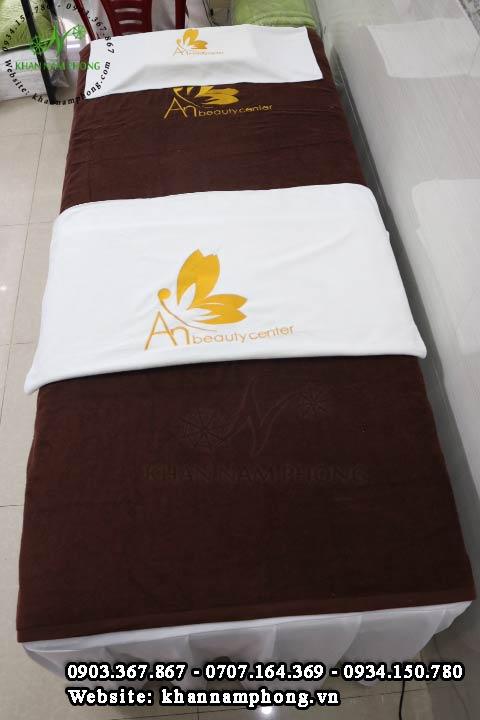 Khăn trải giường Spa màu nâu An Beauty Spa