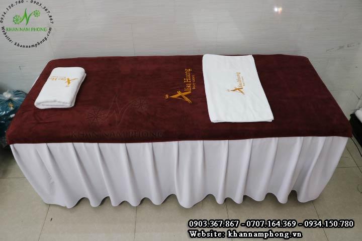 Bộ khăn trải giường spa màu nâu đất