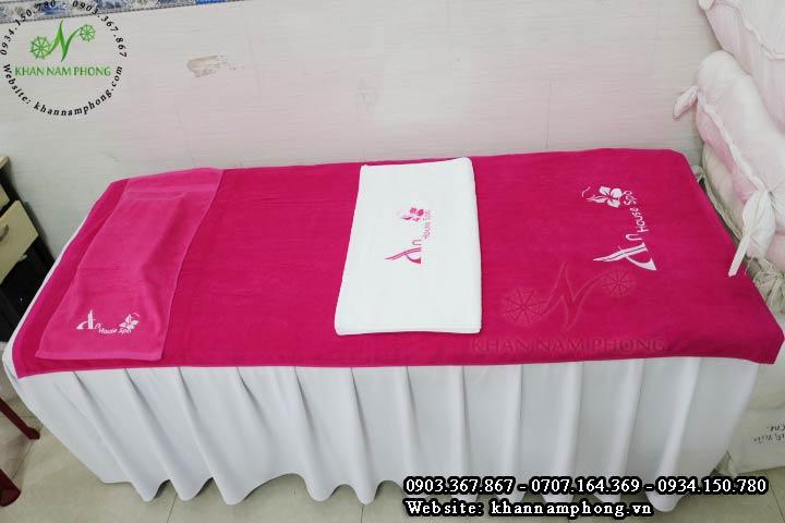 Bộ khăn trải giường spa màu hồng phấn