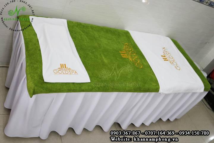 Mẫu khăn trải giường HL GoldSpa - Xanh Rêu (Microfiber)
