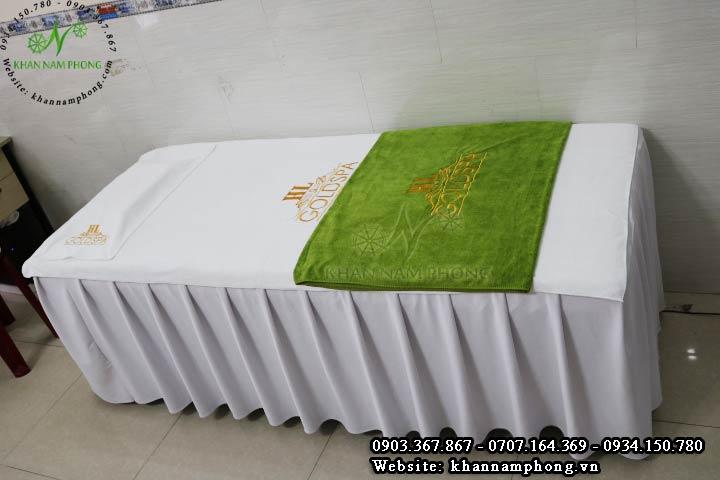 Bộ khăn trải giường spa màu trắng