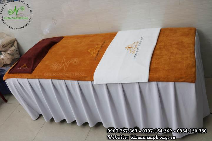 Bộ khăn trải giường spa màu đồng