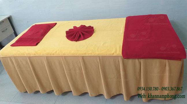 Bộ khăn trải giường spa màu đồng nhạt
