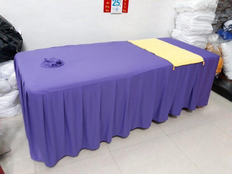 Ga trải giường spa màu xanh nhạt