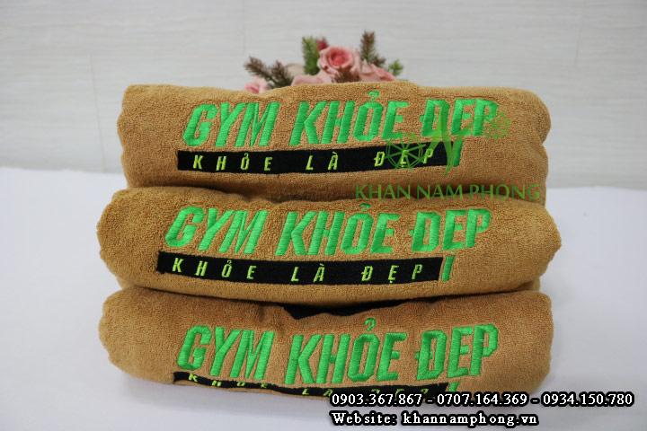 Mẫu khăn body Gym Khỏe Đẹp (Nâu Nhạt - Cotton)