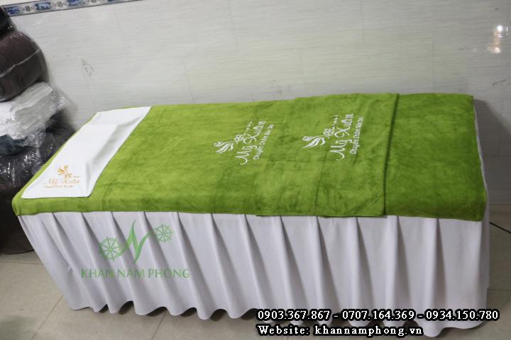 Mẫu khăn trải giường Spa Mỹ Xuân- Xanh Rêu - (Microfiber)