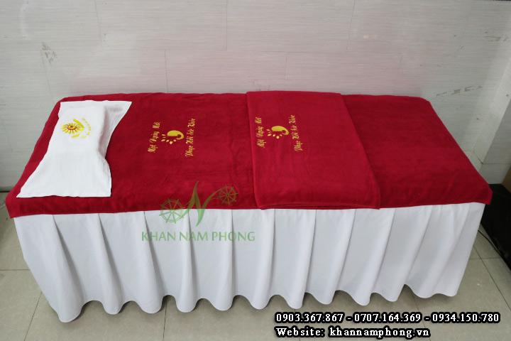 Mẫu khăn trải giường Spa Một Ngày Mới - Màu Đỏ - (Cotton)
