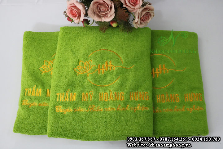 Mẫu khăn body Thẩm Mỹ Hoàng Hưng - Xanh Cốm (Cotton)