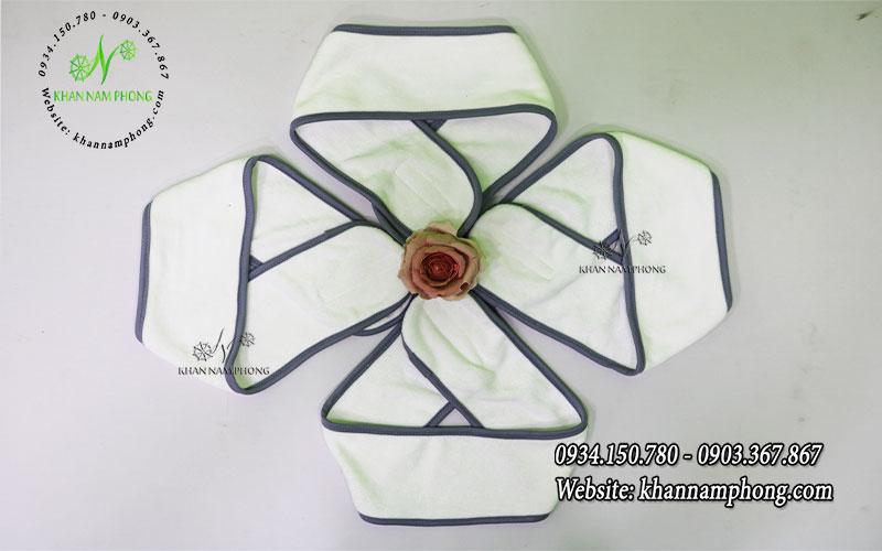 Băng đô Microfiber màu trắng viền xám