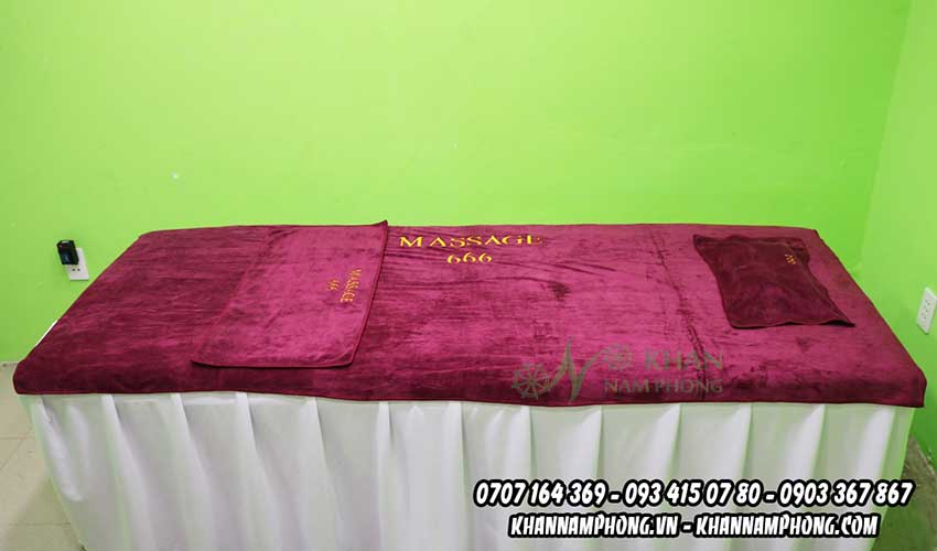Mẫu khăn trải giường Massage 666 Spa (Đỏ Rượu - Microfiber)