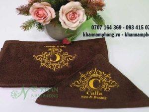 khăn spa của Calla chất liệu cotton màu nâu socola