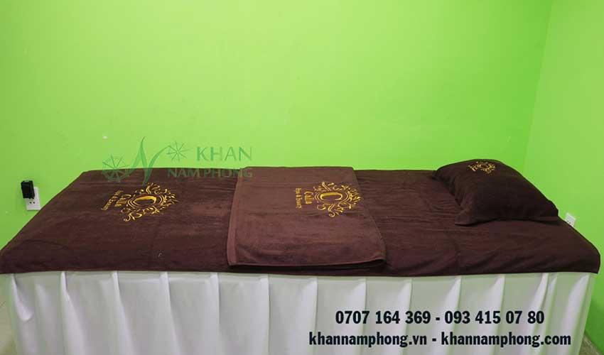 Khăn trải giường Calla Spa (Nâu Socola - Cotton)