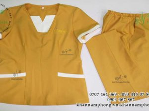 đồng phục của Bông spa chất liệu cotton lạnh, màu vàng