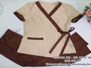 đồng phục Spa màu nâu chất liệu cotton lạnh
