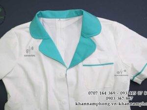 đồng phục Spa màu xanh-trắng chất liệu cotton lạnh