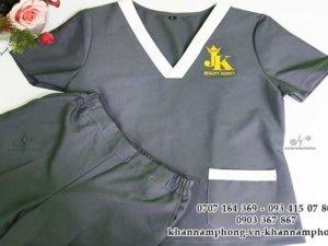 đồng phục spa màu xám cotton của JK Spa