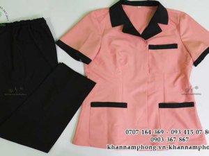 đồng phục spa cotton màu hồng-đen