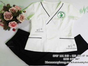 đông phũ spa của Mỹ phẩm Bảo Anh màu trắng đen kèm áo blouse chất liệu cotton