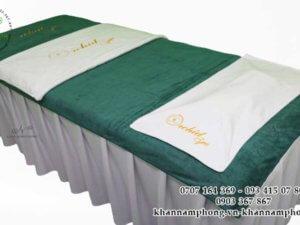 khăn của Orchid Spa chất liệu microfiber màu trắng -xám-xanh cổ vịt