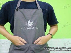 tạp dề spa màu xám chất liệu cotton của Little Garden