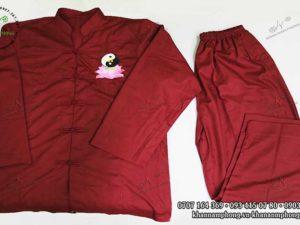 Đồng phục đi chùa chất liệu cotton, màu đỏ đô