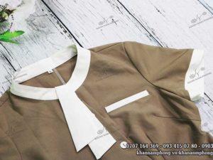 Đầm đồng phục Spa màu nâu nhạt, chất liệu cotton