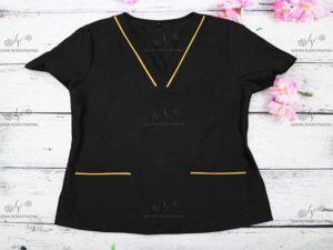 Đồng phục Spa màu đen chất liệu Cotton