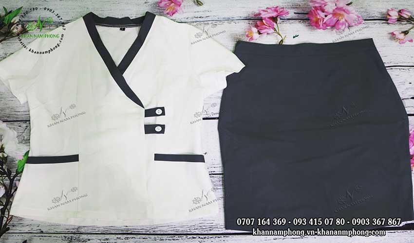 Mẫu đồng phục Spa màu xám