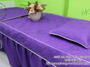 Ga giường Spa màu Tím chất liệu Trần bông