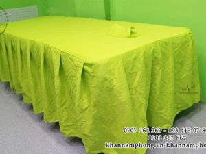Ga giường Spa màu Xanh cốm chất liệu vải sọc chéo