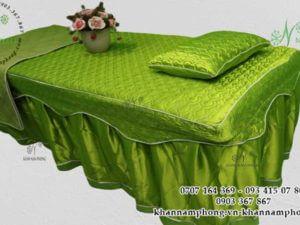 Ga giường Spa màu Xanh cốm, chất liệu Trần bông