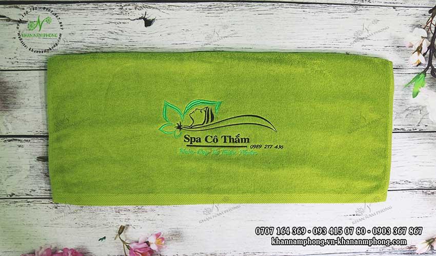 Mẫu khăn body Spa Cô Thắm (Xanh cốm - Cotton)