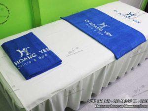 khăn trải giường Dr Hoang Yen chất liệu Cotton màu Trắng-xanh dương