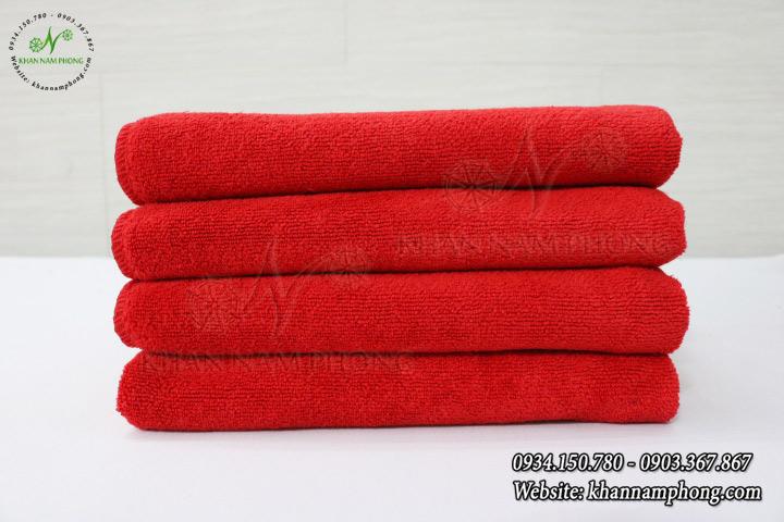 Mẫu khăn trài giường Spa Microfiber màu đỏ