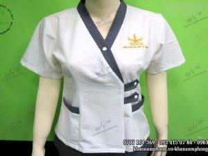 Mẫu đồng phục Spa cổ tim Nam Phong