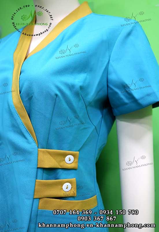 Đồng phục spa màu xanh dương + vàng, chất liệu cotton