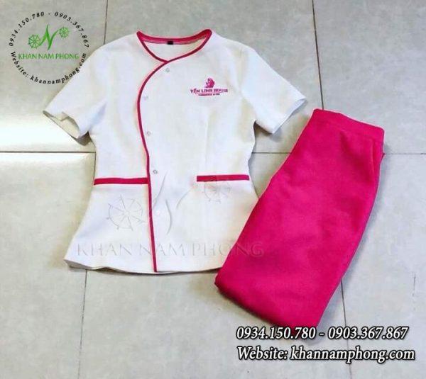 Mẫu đồng phục Spa cổ tròn Nam Phong