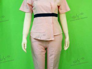 Đồng phục spa màu hồng chất liệu cotton japan