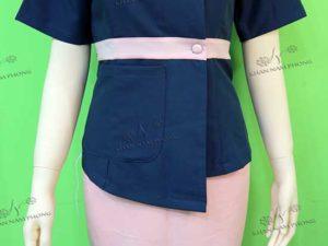 Đồng phục spa hồng & xanh chất liệu cotton japan