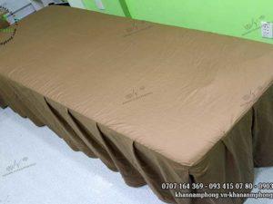 Ga giường Spa chất liệu Cotton màu nâu