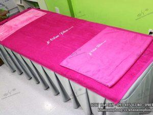 Khăn Cẩm Pha spa chất liệu cotton màu hồng