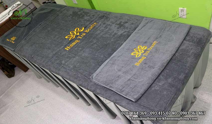 Mẫu khăn trải giường Hương Trà Beauty (Xám-Cotton)