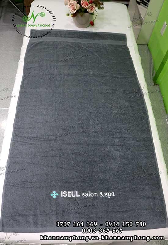 Mẫu khăn body ISEUL Salon, Spa (Xám - Cotton)